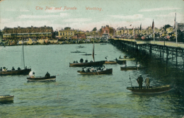 GB WORTHING / The Pier And Parade / COLORED CARD - Worthing