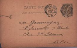 Entier Carte Postale 10c Groupe Noir Carton Chamois Sans Date, Oblit. Ambulant Dunkerque A Arras B 6 JANV 91 - Postales Tipos Y (antes De 1995)