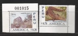 E)1996 PERU, AMERICA ISSUE, ROCK FORMATIONS OF LACHAY, COASTAL BLACK CROCODILE, 1137, 1138, A494, COMPLET  SET OF 2, MNH - Peru