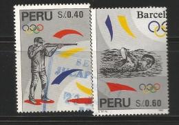 E)1996 PERU, SUMMER OLYMPIC GAMES 1992, BARCELONA, SHOOTING, SWIMMING, A496, SET OF 2, MNH - Peru