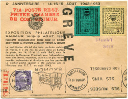 """FRANCE GREVE DE SAUMUR LETTRE AVEC GRIFFE ROUGE """"VIA POSTE REST. PRIVEE CHAMBRE DE COM. SAUMUR"""" + GRIFFE """"GREVE"""" + ..... - Postmark Collection (Covers)"""