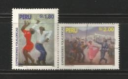 E)1995 PERU, FOLKLORIC EXPRESSIONS, FOLK DANCES, CELEBRATION, MARINERA LIMEÑA HORIZ, 1126, 1128, A488, COMPLET SET OF 2, - Peru