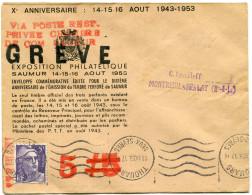 """FRANCE GREVE DE SAUMUR LETTRE AVEC GRIFFE ROUGE """"VIA POSTE REST. PRIVEE CHAMBRE DE COM. SAUMUR"""" + GRIFFE """"GREVE"""" + ..... - Marcophilie (Lettres)"""