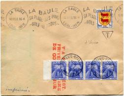 """FRANCE GREVE DE SAUMUR LETTRE AVEC GRIFFE ROUGE """"VIA POSTE REST. PRIVEE CHAMBRE DE COM. SAUMUR"""" TAXEE A MONTREUIL-BELLAY - Marcophilie (Lettres)"""