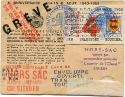 """FRANCE GREVE DE SAUMUR LETTRE HORS SAC AVEC GRIFFE ROUGE """"VIA POSTE REST. PRIVEE CHAMBRE DE COM. SAUMUR"""" +.............. - Postmark Collection (Covers)"""