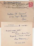 Carte Visite Pierre Descaves Président De La Société Des Gens De Lettres  - 1950 - Cartes De Visite