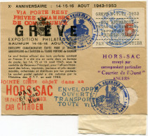 """FRANCE GREVE DE SAUMUR LETTRE HORS SAC AVEC GRIFFE ROUGE """"VIA POSTE REST. PRIVEE CHAMBRE DE COM. SAUMUR"""" +.............. - Marcophilie (Lettres)"""