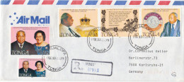 Postal History Cover: Superb Tonga R Cover With 25th Anniversary Of The Coronation Of King Taufa'ahau Tupou IV Set - Royalties, Royals