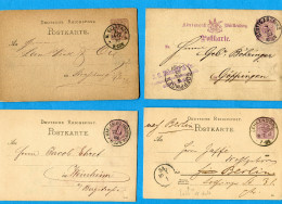 ALLEMAGNE*lot 4 ENTIERS POSTAUX De 5 C-Ayant Voyagé De  18878-à 1884  Bel état - Ganzsachen