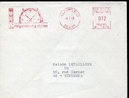 9765 France, Red Meter Freistempel EMA 1966   Montre,  Uhr, Clock, Circuled Cover - Uhrmacherei