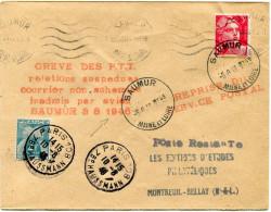 """FRANCE GREVE DE SAUMUR LETTRE TAXEE AVEC GRIFFE ROUGE """"GREVE DES P.T.T. RELATIONS SUSPE(N)DUES COURRIER NON ACHEMINE..."""" - Marcophilie (Lettres)"""
