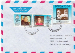 Postal History Cover: Superb Tonga Cover With  Royal Links With Great Britain And Queen Elizabeth Set - Royalties, Royals