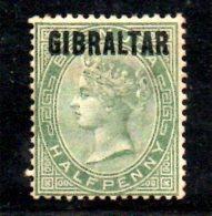 T185 - GIBILTERRA 1886 , 1/2 Penny Verde N. 1  * . Linguella Forte - Gibilterra