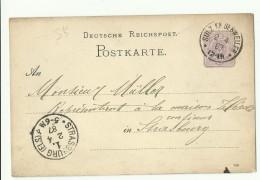1887 Entier Allemand Obl. Cachet:  Sulz Kb Gebweiler Pour Strasbourg - Elzas-Lotharingen