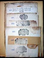 CACHETS DE GENERALITE XVII° ET XVIII° POITIERS  7  CACHETS SUR PAPIER VIERGE PLIE - Seals Of Generality