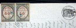 TIMBRES FISCAUX  FRANCE COPIES 50 Centimes  SUR LETTRE MANUSCRITE 1874 DEUX TIMBRES OBLITERES - Revenue Stamps