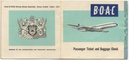 Ticket/Billet D'Avion.B.O.A.C. British Overseas Airways Corporation. Tripoli/Benghazi. 1962. - Billets D'embarquement D'avion