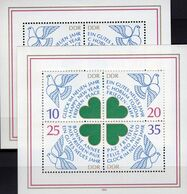 Abart Bei 2844 I Neujahr 1984 DDR Block 75+75 I ** 34€ Frieden Glück Kerbe Im Flügel Bloc M/s New Year Sheets Bf Germany - DDR