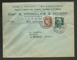"""Enveloppe Entete Commerciale """" Quincaillerie Ets PENNELLIER & DELIGNY """" à EU - 31.01.1947 / Tarif 3F Gandon & Mazelin - Postmark Collection (Covers)"""