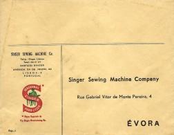 ÉVORA - SINGER - ENVELOPE COMERCIAL - MÁQUINAS DE COSTURA - SEWING MACHINE DE COUTURE - ADVERTISING - PORTUGAL - 1910-... République