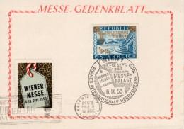 Austria / ÖSTERREICH-Israel 1953 Autumn Fair / Wiener Messe Gedenkblatt/card Overprinted Stamp MI#983 - Maximum Cards
