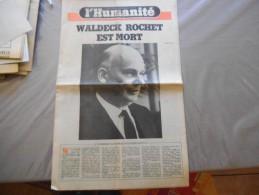 L'HUMANITE N°11968 MERCREDI 16 FEVRIER 1983 WALDECK ROCHET EST MORT - 1950 - Today