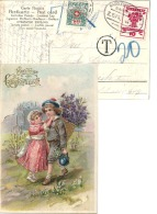 """Taxierte AK  """"Glückwunsch""""  Markdorf D - Zürich  (Bahnstempel)          1919 - Strafportzegels"""