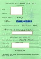 CAMPAGNE DE CHASSE 1996-1997Permis De Chasser  CESARVILLE-DOSSAINVILLE  Viévy TIMBRE Fiscal +TIMBRE Chasse - Alte Papiere