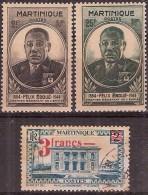 Martinique 1945 - Gouverneur Général Eboué -  Neuf** MNH & Oblitéré - Yvert & Tellier N° 218-219-222 - Martinique (1886-1947)