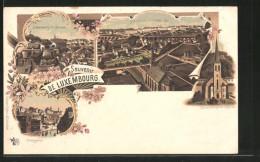 Lithographie Luxemburg, Glausenkirche Mit Perkhöhe, Gerbergasse, Teilansicht Von Grund - Luxemburg - Town