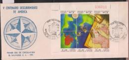 O) 1991 EL SALVADOR, MARINE ROUTE TO THE DISCOVERY OF AMERICA 1492, V CENTENARY, FDC XF - El Salvador