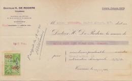 BELGIË/BELGIQUE:1940:Note De Soins ##Docteur H. De Roddere, Tournai## à ##Mad. Goossens, Tournai## - Avec Timbre Fuscal. - Belgium
