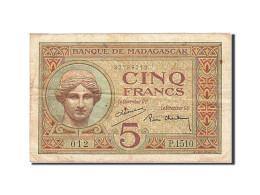 Madagascar, 5 Francs, 1930, Undated, KM:35, TTB+ - Madagascar