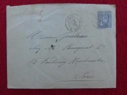 CACHET PARIS SERPENTE SUR TIMBRE TYPE SAGE SEUL SUR LETTRE 1876 - Marcofilia (sobres)