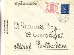 Finlande - Lettre De 1940 - Avec Censure - Oblitération Javas  ? - Expédié Vers Lles Pays Bas - Timbres Sur Timbres - Finland
