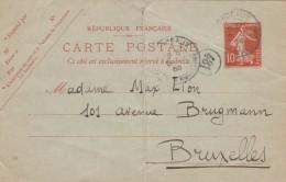 Entier Postal Yvert 138 CP1 Date 749  - 19/4/1908 Bordeaux Cours D'Aquitaine Pour Bruxelles Belgique - Plis - Ganzsachen