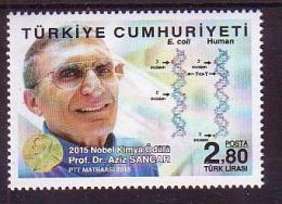 2015 TURKEY NOBEL PRIZE IN CHEMISTRY PROF. DR. AZIZ SANCAR MNH ** - 1921-... Republic