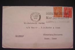 Cover 1948 Stamp King George VI. 2 + 1 D - GLAUCHAU/SACHSEN, Russ. Zone - BRITISCH INDUSTRIES FAIR LONDON & BIRMINGHAM - Affrancature Meccaniche Rosse (EMA)