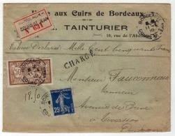!!! 50C MERSON + 25 C SEMEUSE SUR LETTRE CHARGEE DE 1910 - Postmark Collection (Covers)