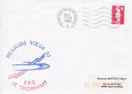 LETTRE SNG LE TRIOMPHANT  VOEUX 93 CHERBOURG NAVAL 31/12/1992 FLAMME - Marcophilie (Lettres)