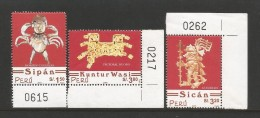 E)2002 PERU, PRE-COLUMBIAN ARTIFACTS, A630,CRAB-LIKE MAN, SIPAN, WARIOR SICAN, GOLD BREASTPLATE, KUNTUR WASI, HORIZ, 134 - Peru