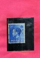 GREAT BRITAIN GRAN BRETAGNA 1936 KING EDWUARD VIII RE EDOARDO P 2 1/2 2 1/2p PERFIN USATO USED OBLITERE´ - Usati