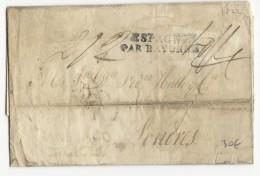 """1822 - LETTRE PURIFIEE Par COUPURE De SANTIAGO GALICIA (ESPAGNE) Pour LONDRES (GB) Avec ENTREE """"ESPAGNE PAR BAYONNE"""" - Postmark Collection (Covers)"""