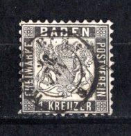 1862 BADEN 1 KR. BLACK MICHEL: 13 USED - Baden