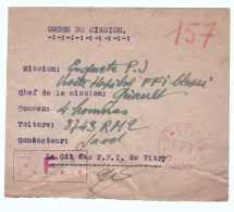 ORDRE DE MISSION FFI DE VITRY LETTRE  COVER FRANCE 39/45 1945 DEUXIEME GUERRE  WW2 - Marcophilie (Lettres)