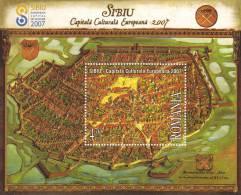 SIBIU EUROPEAN CAPITAL OF CULTURE 2007 MAP,BLOCK MNH ROMANIA.EXTRA PRICE FACE VALUE! - Blocks & Sheetlets