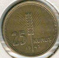 Turquie Turkey 25 Kurus 1945 KM 880 - Turquia