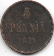 *finland 5 Pennia 1875  Km 4.2  Vf+ - Finlande