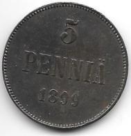 *finland 5 Pennia 1899  Km 15  Vf - Finlande
