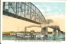 CPA  Merchants Bridge, Showing Steamer On The Mississippi River, St Louis  3702 - St Louis – Missouri